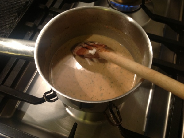 The gravy thickens as you gently heat it.