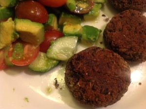 Thai Flavoured Blackbean Rissoles, with avocado, tomato and cucumber salsa.