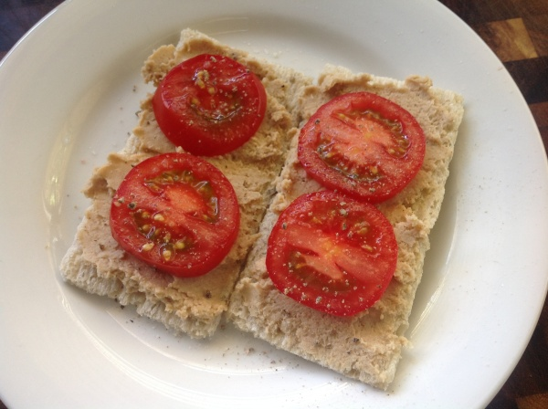 Sprouted Chickpea Hummus on Crackers