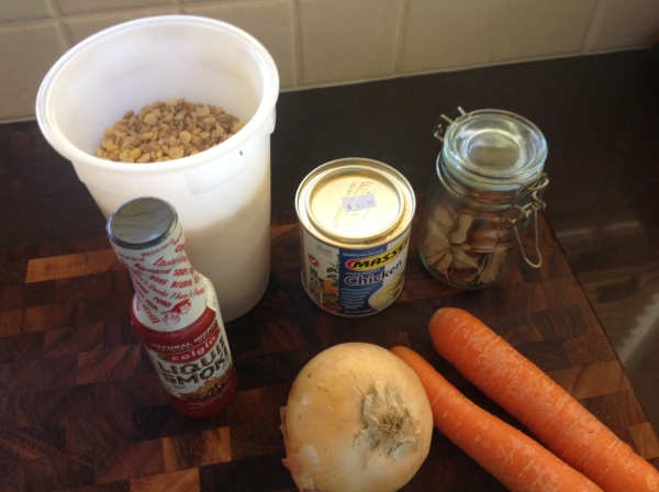 Ingredients for Smokey Pea and Barley Soup