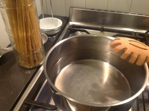 Put the pasta water on to boil, first.