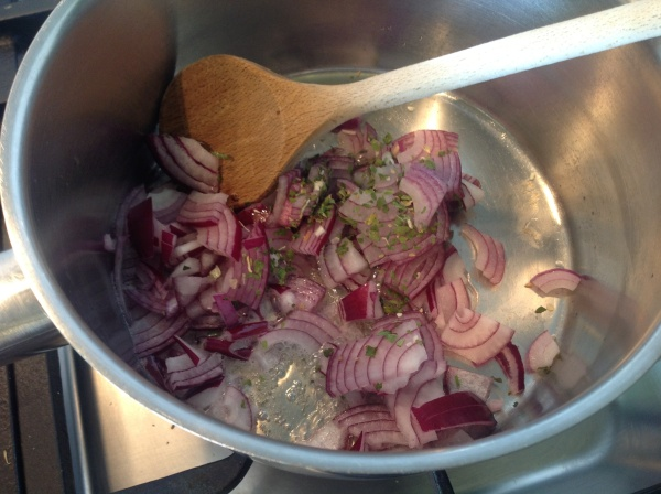 Onions frying for the tomato sauce