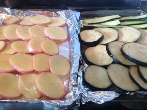 Potatoes, eggplant and zucchini ready to roast