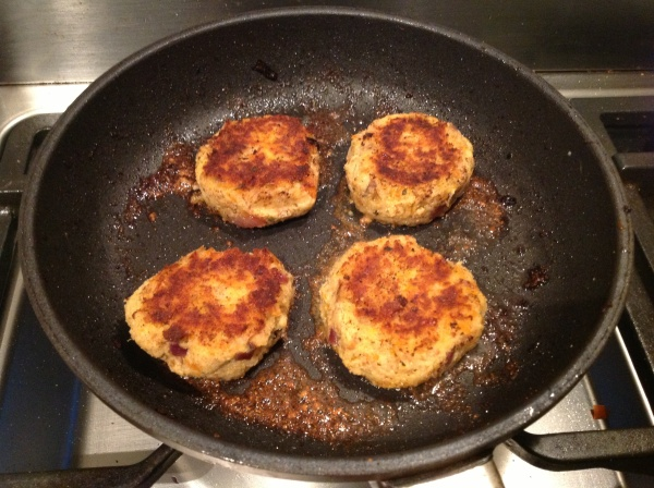 The last batch frying in coconut oil now flavoured with Grill Master seasoning.