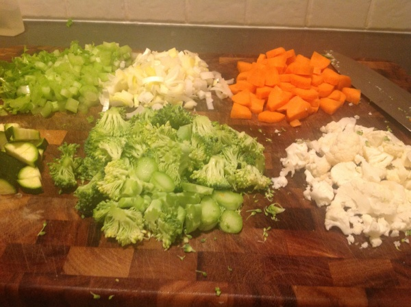 Vegetables chopped for the broth