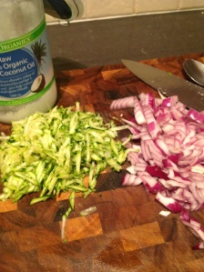 Grated zucchini and chopped onion