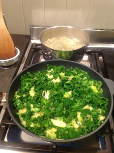 Greens stirfried in macadamia oil