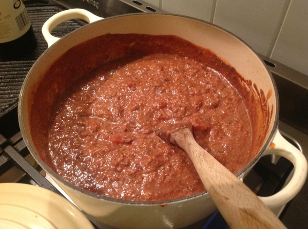 Comfort food: a pot of rich, tomatoey, herby sauce for pasta.