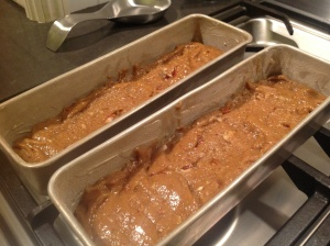 Blondies ready to bake. You think the batter won't go far enough, but it does.