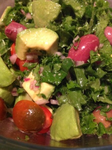Quick Kale and Avocado Salad, with olives and cherry tomatoes.