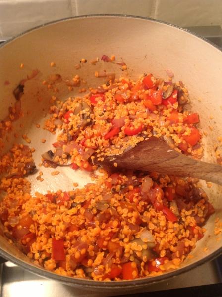 Un-Chilli Lentils and Vegetables Sautéing