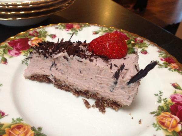 raw strawberry cream cheesecake slice